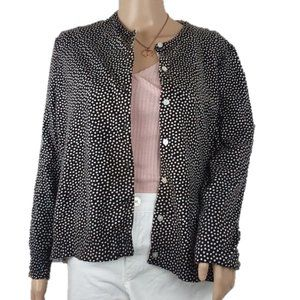 Lands End Brown Polka Dot Sweater Cardigan